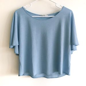 Zara Cute Flowy Tiered Blue Crop Top